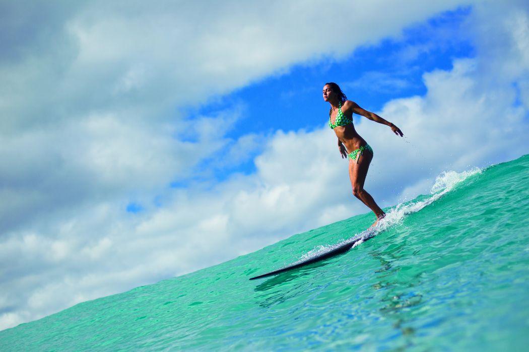 board ocean girl surf surfing bikini sexy babe wallpaper