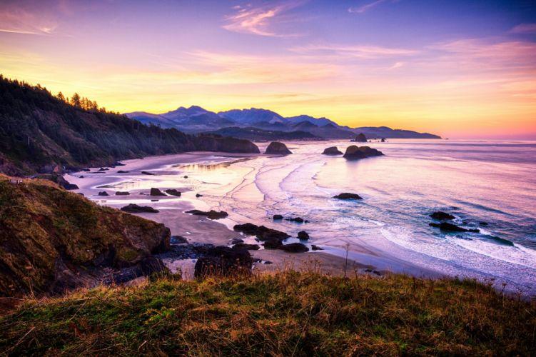 Cannon Beach Oregon sunset landscape wallpaper