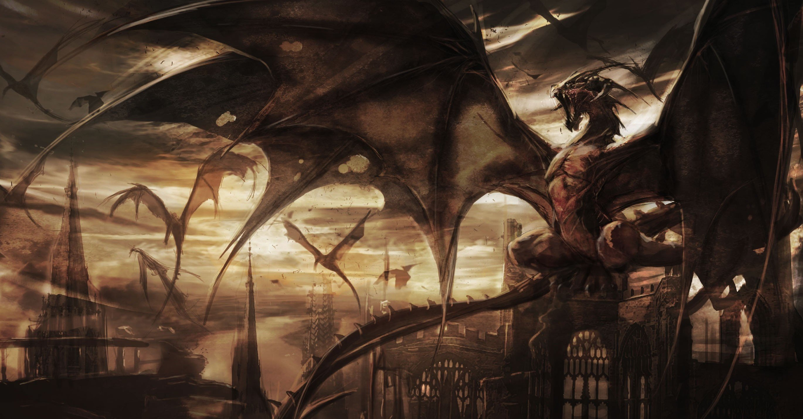 Castle Fantasy Art Dragon Towers Wallpaper