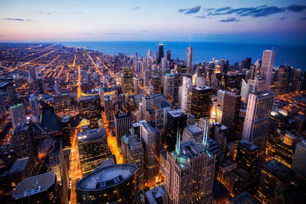 Chicago Willis Tower city lights wallpaper