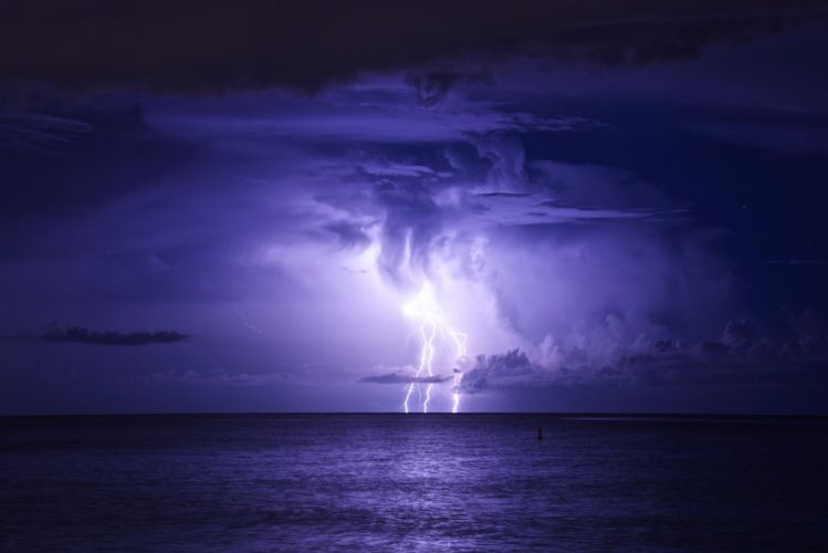 clouds lightning storm sea night wallpaper