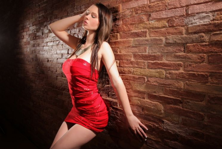 corinne boobs red pose wall sexy hot breast brunette wallpaper
