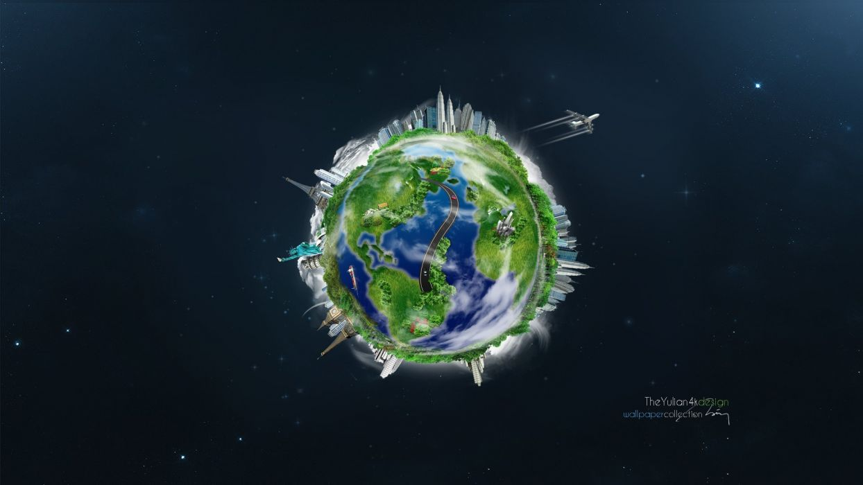 earth planet planet airplane city space wallpaper