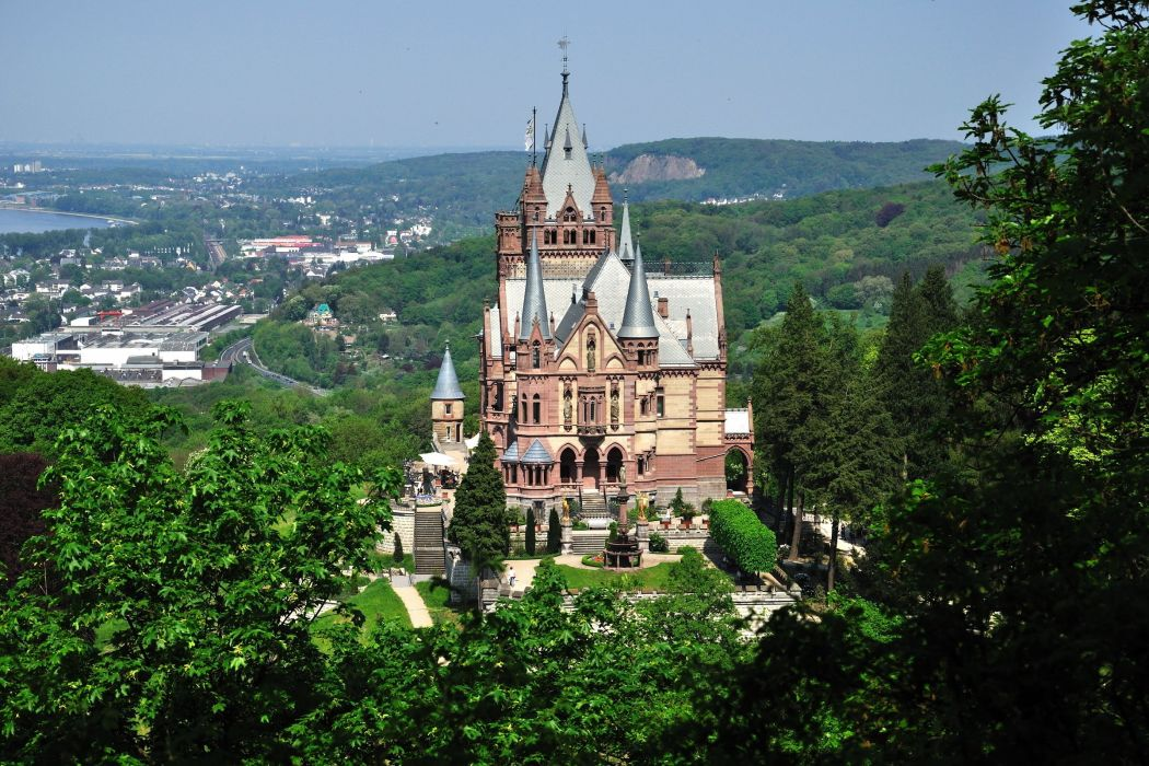 germany city castle castle forest drachenburg wallpaper