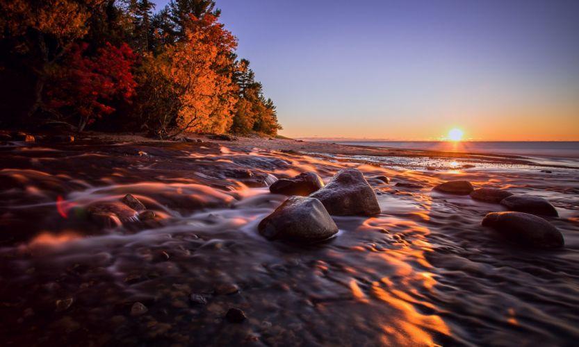 Hurricane River Michigan sunset landscape wallpaper