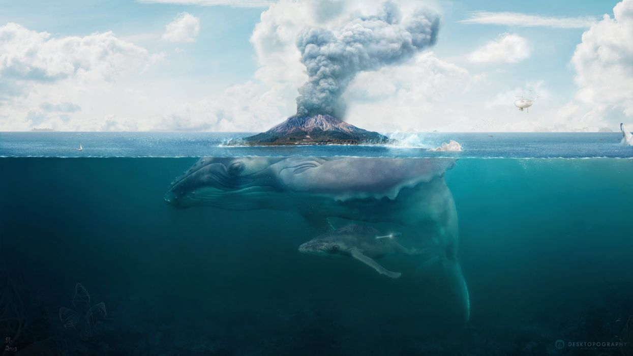 island hq wallpaper whale art volcano fantasy underwater ocean psychedelic wallpaper