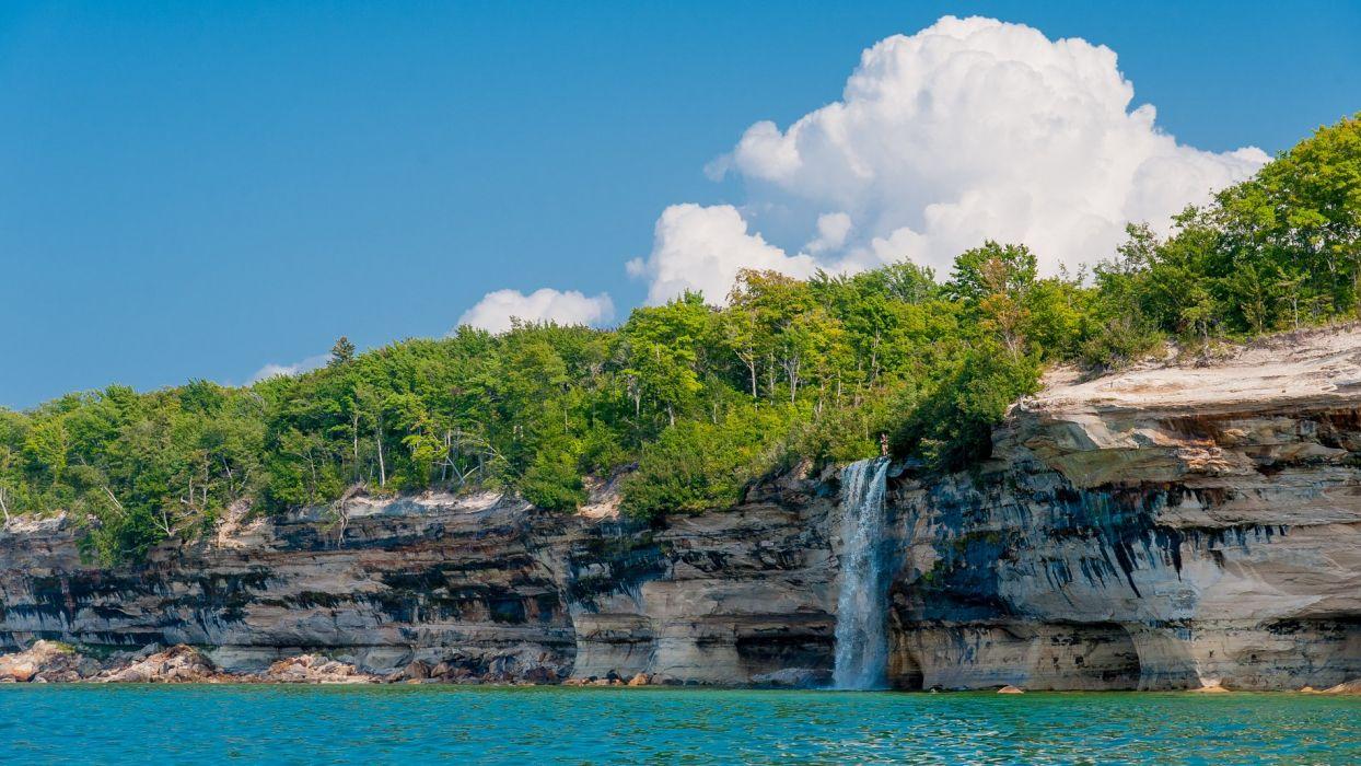 Lakeshore Alger County Michigan landscape lake waterfall wallpaper