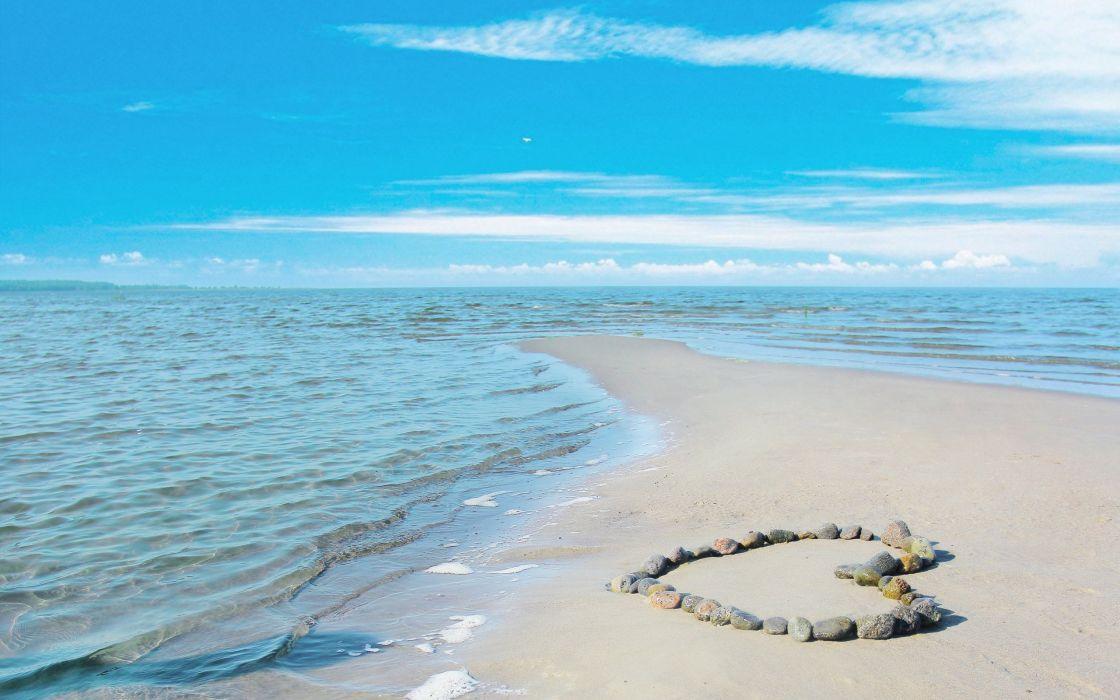 love heart heart sky sea mood wallpaper