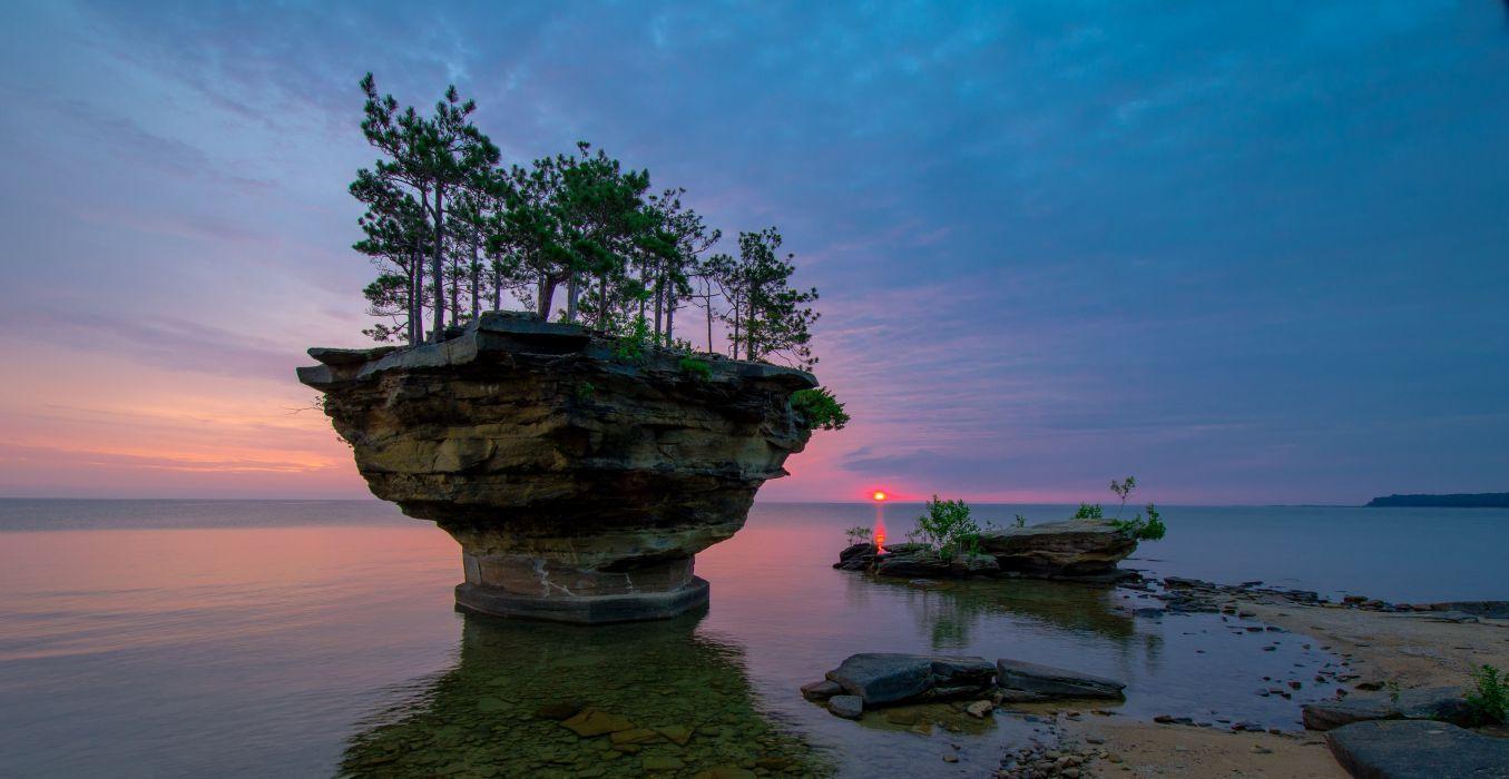 Michigan Lake Huron sunset rock trees landscape wallpaper