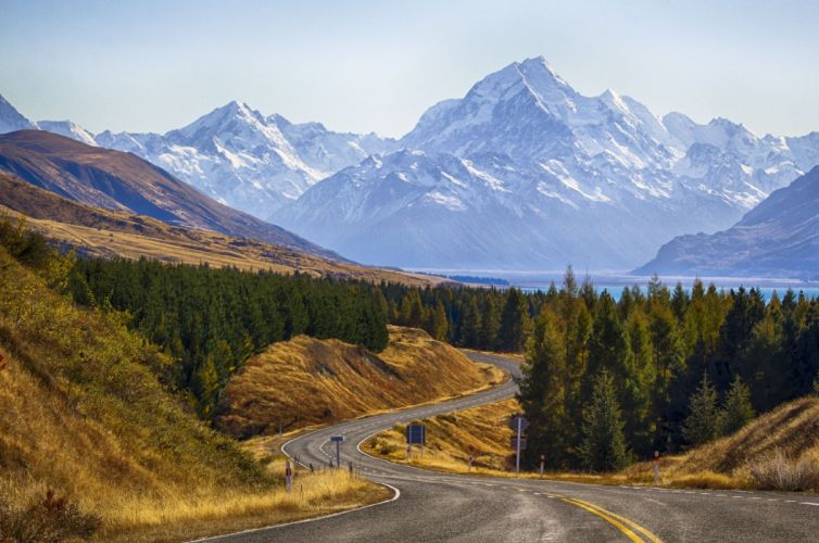 Mount Cook National Park New Zealand mountain road trees landscape wallpaper