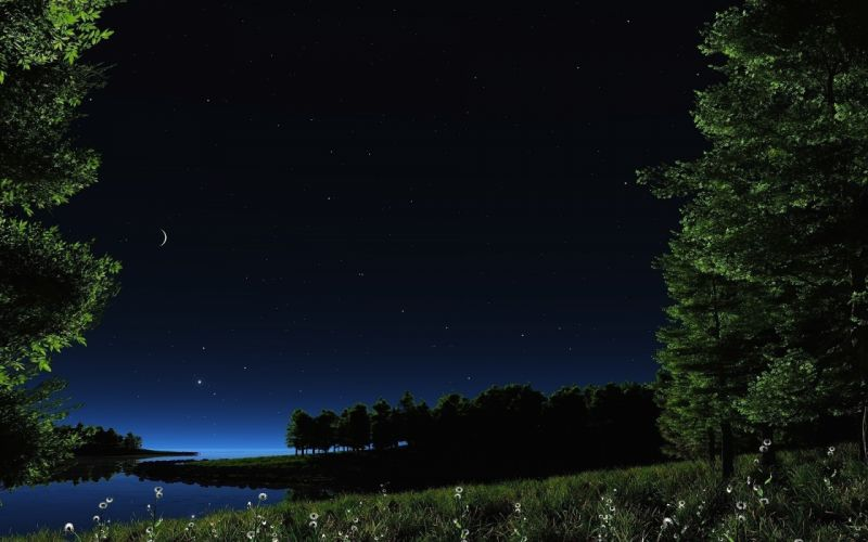 night stars lake sky nature wallpaper