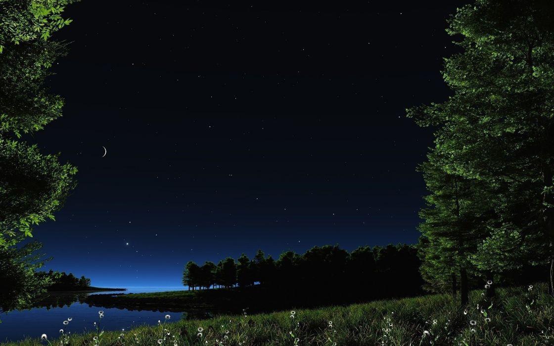 night stars lake sky nature wallpaper