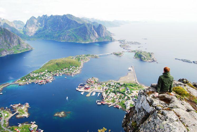 Norway Lofoten rock mood wallpaper