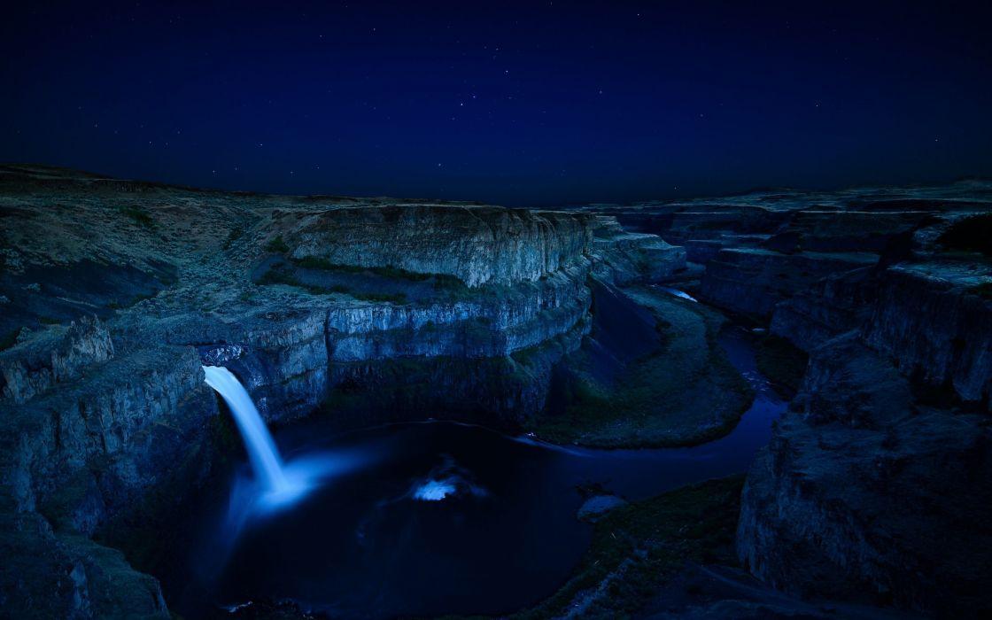Palouse Falls Washington waterfall night wallpaper