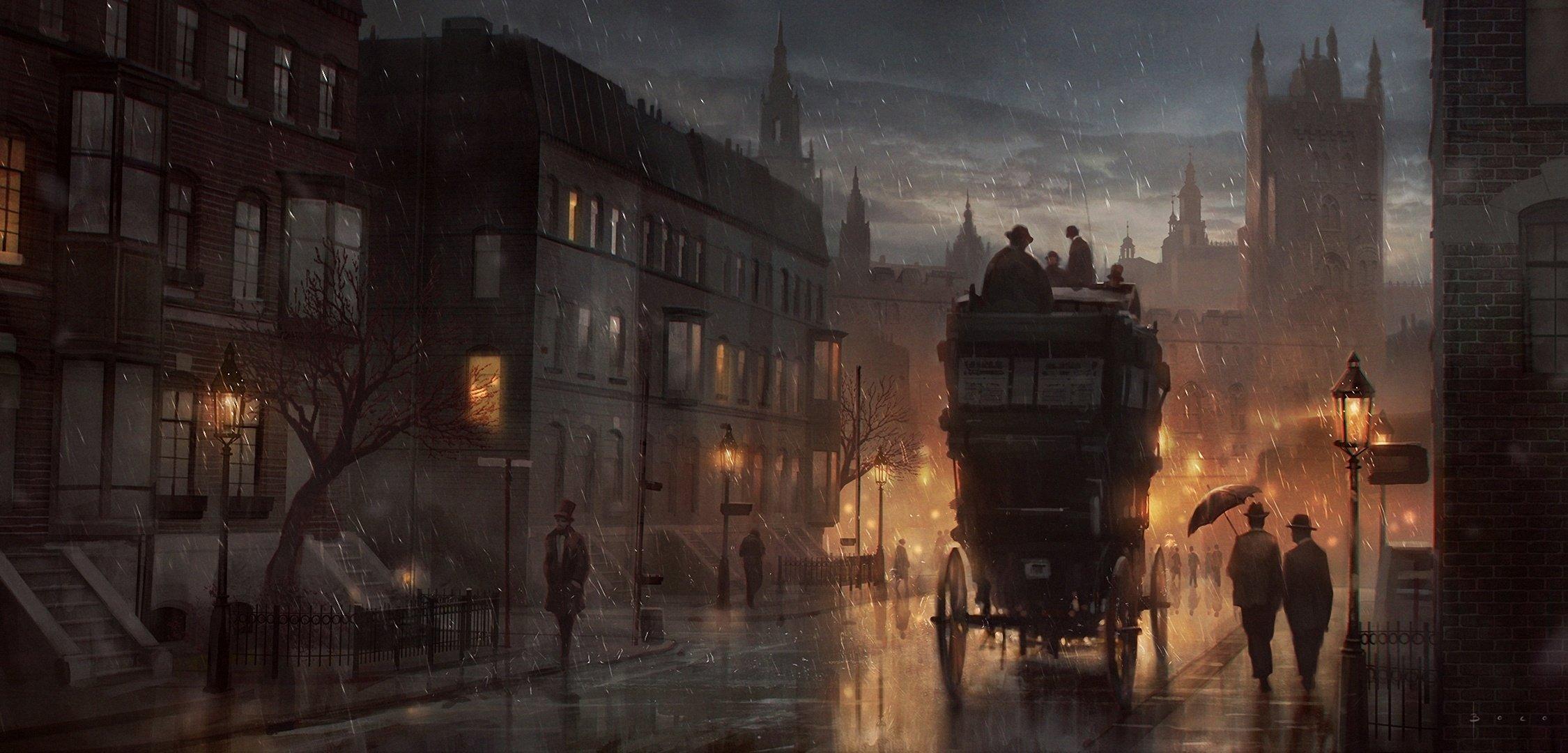 rain crew people street art night london painting mood