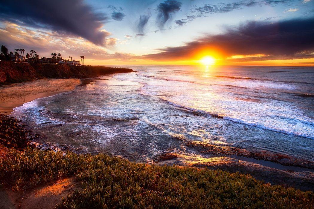 San Diego California sunset landscape wallpaper