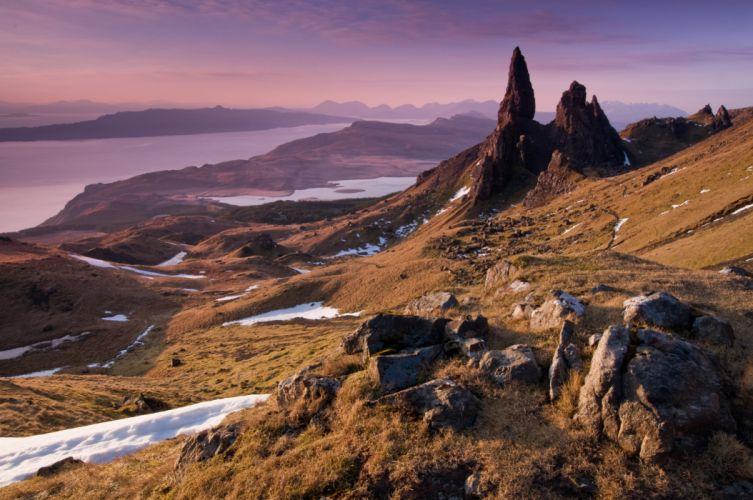 scotland water mountains rocks nature wallpaper