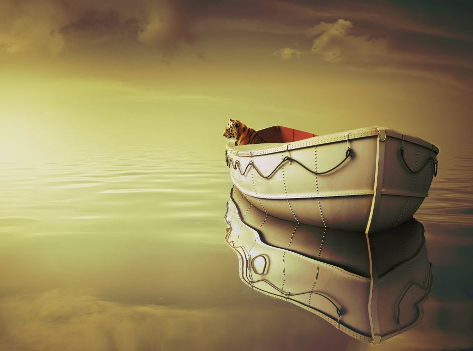 sea clouds tiger boat mood reflection bokeh fantasy wallpaper