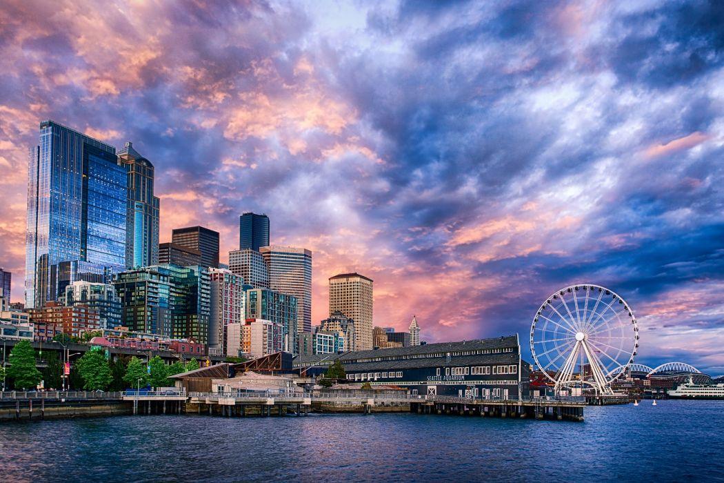 Seattle Ferris Wheel Sunset on wallpaper