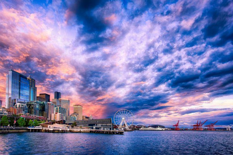 Seattle Ferris Wheel Sunset wallpaper