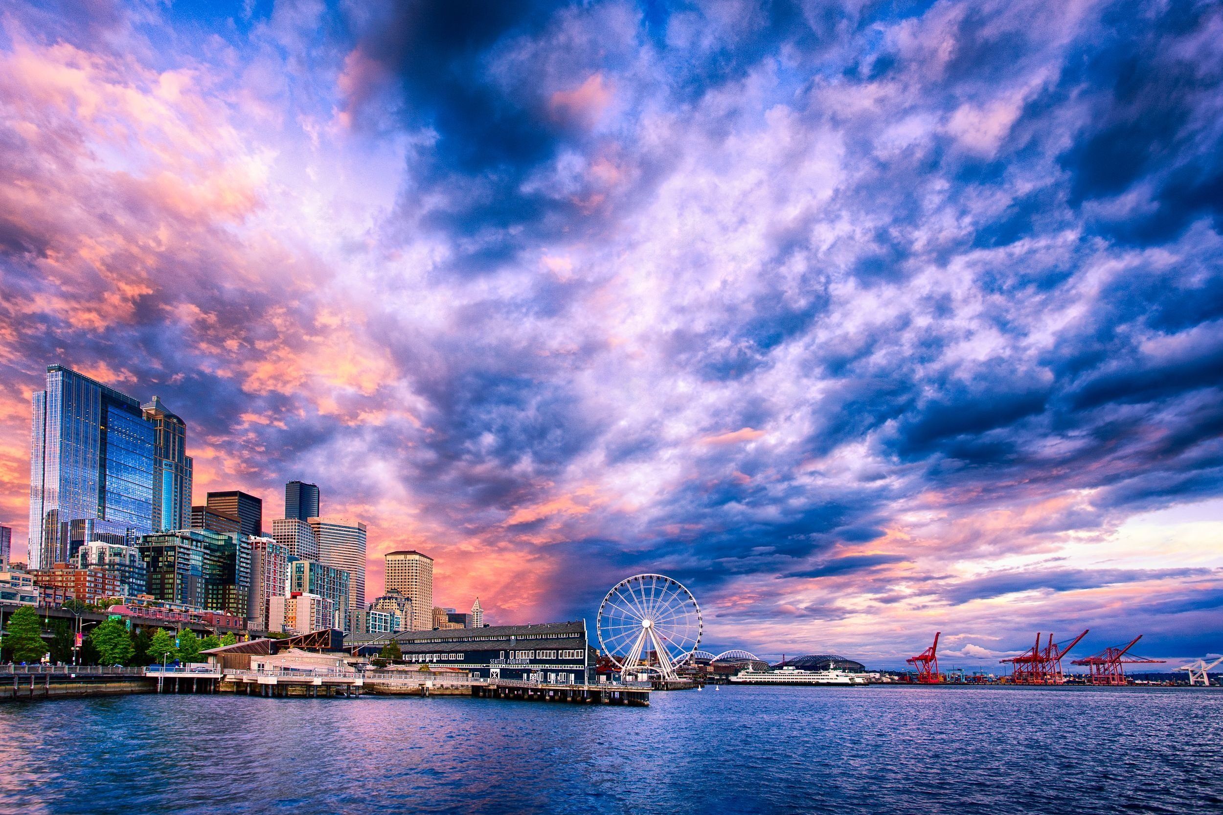 seattle ferris wheel sunset wallpaper 2500x1666 291362