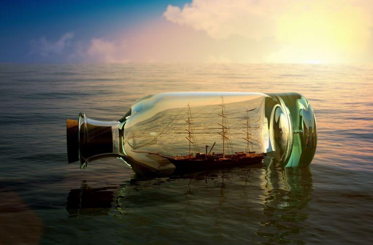 ship vessel bottle mood wallpaper