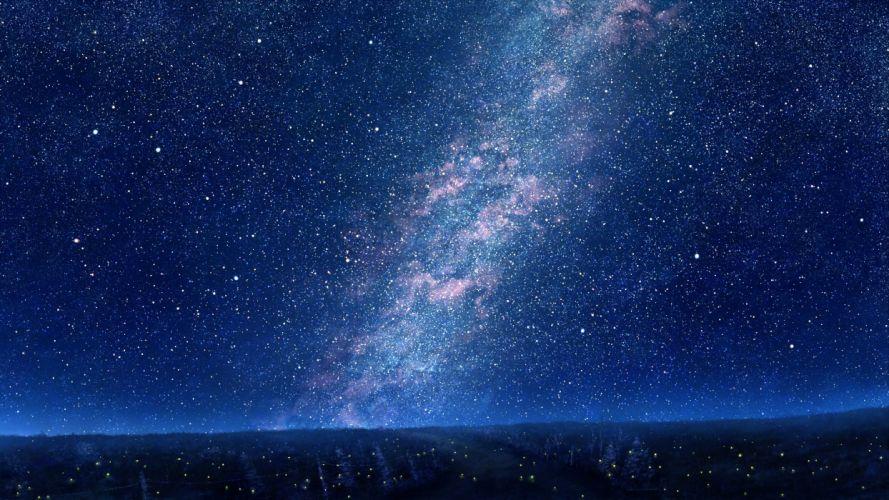 sky mks trees night stars art wallpaper