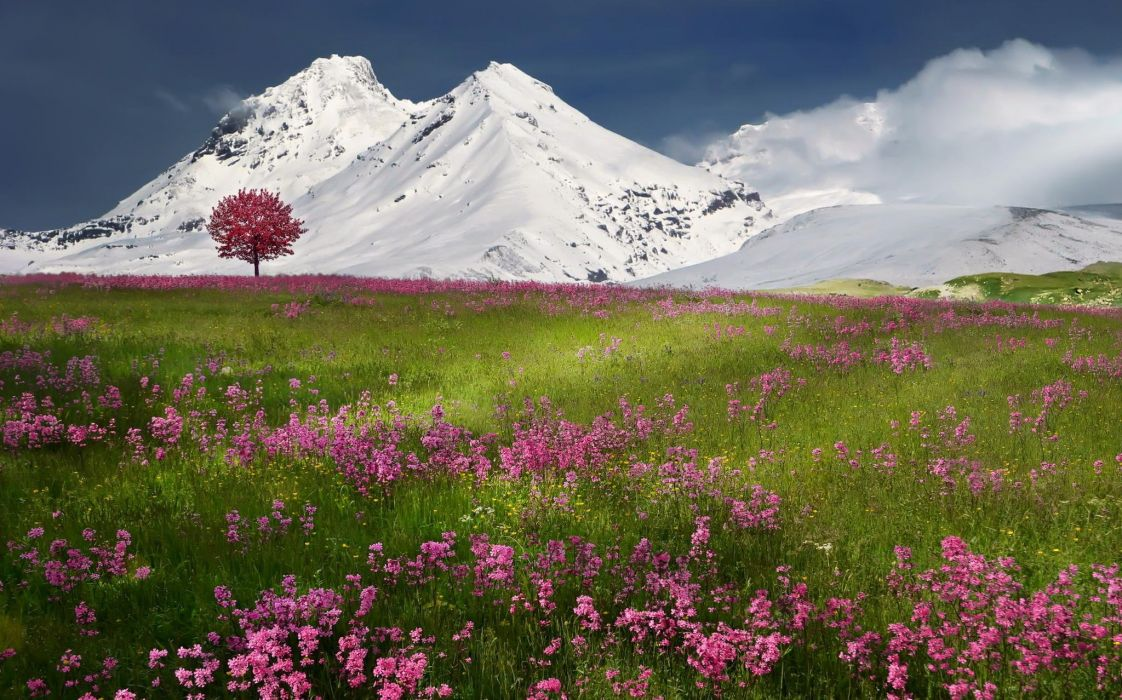 spring snow mountains nature winter wallpaper