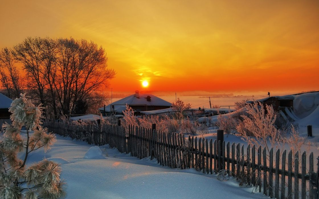 sunset winter village house wallpaper