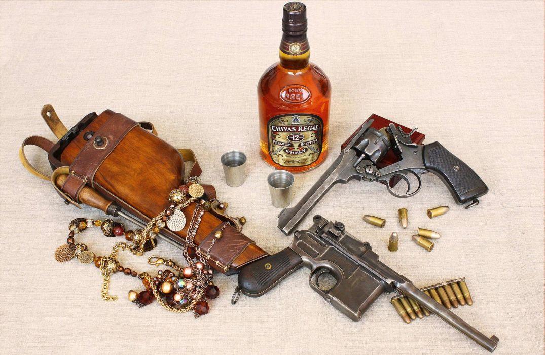 weapon gun pistol whiskey alchohol ammo ammunition wallpaper
