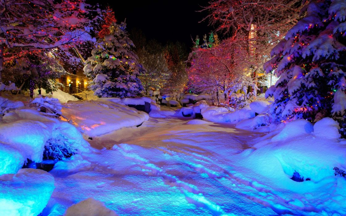 Whistler Village Christmas winter trees garlands psychedelic wallpaper