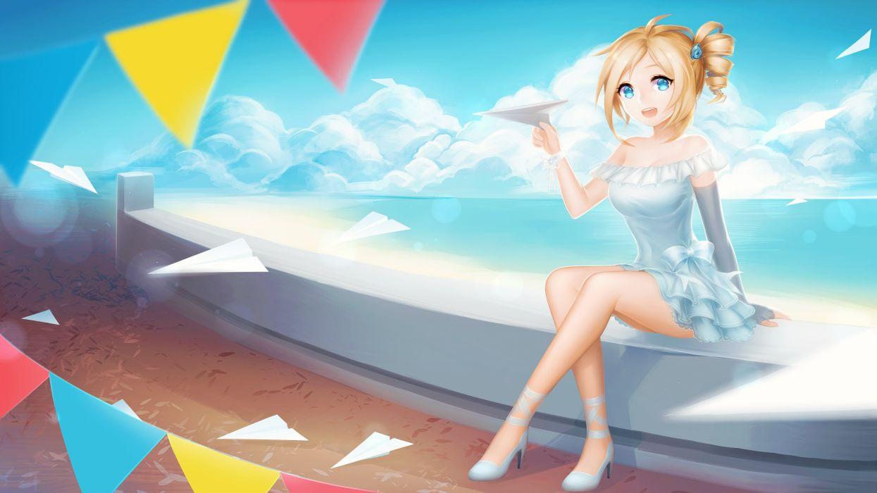 aizawa inori beach blonde hair blue eyes dress internet explorer pricey short hair sky wallpaper
