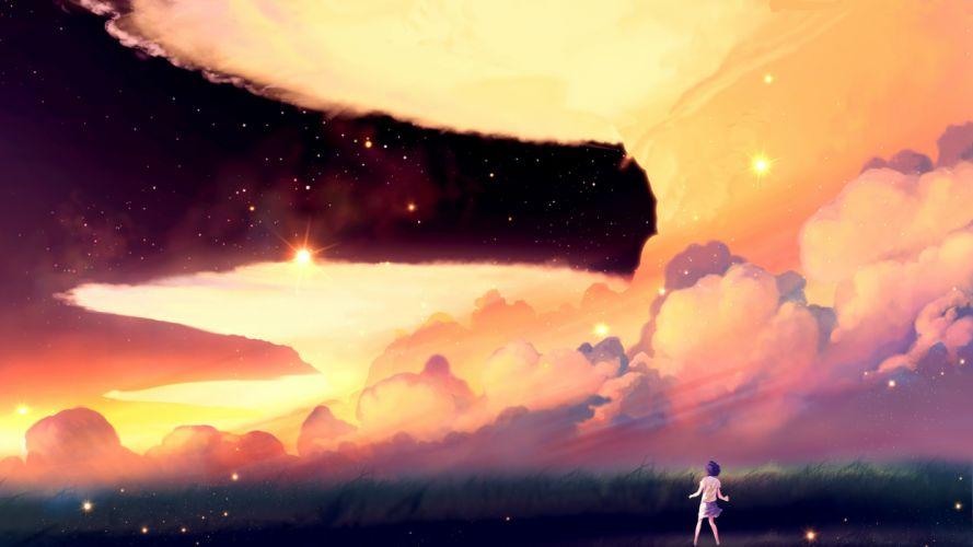 akio-bako clouds grass landscape original scenic sky stars wallpaper