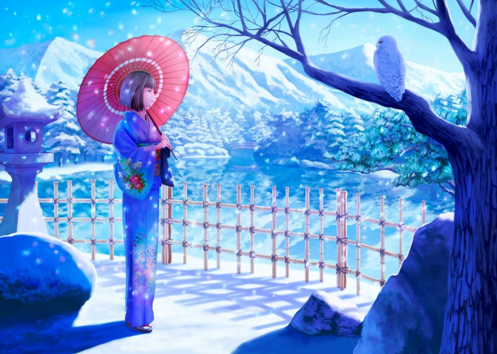 animal bird erhu japanese clothes kimono original owl short hair snow umbrella winter wallpaper