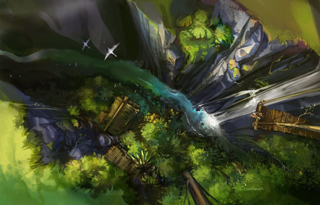 animal bird forest oceanleaves original scenic tree water waterfall wallpaper