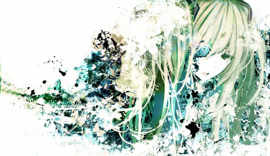 animal butterfly flowers green eyes green hair hatsune miku long hair ruuya higashino twintails vocaloid white wallpaper