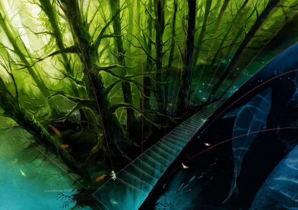 animal fish forest oceanleaves original scenic stairs tree wallpaper