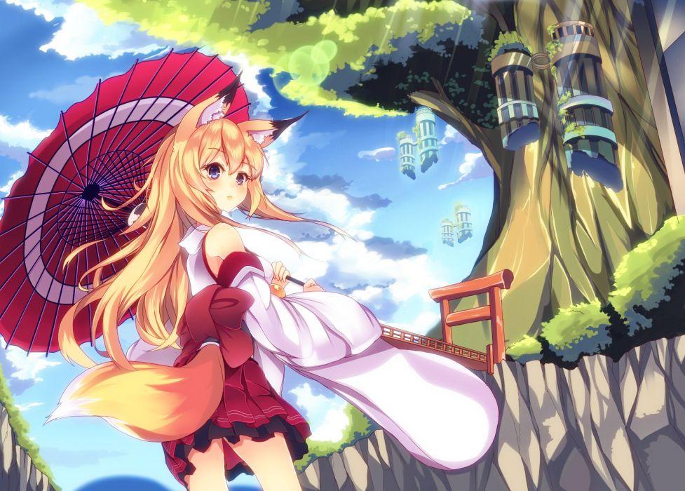 animal ears blonde hair blue eyes blush clouds foxgirl japanese clothes long hair mikususannda original tail umbrella wallpaper