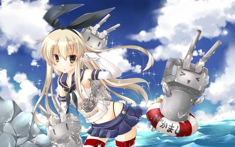 Anime shimakaze kantai collection Schoolgirls Blonde girl wallpaper