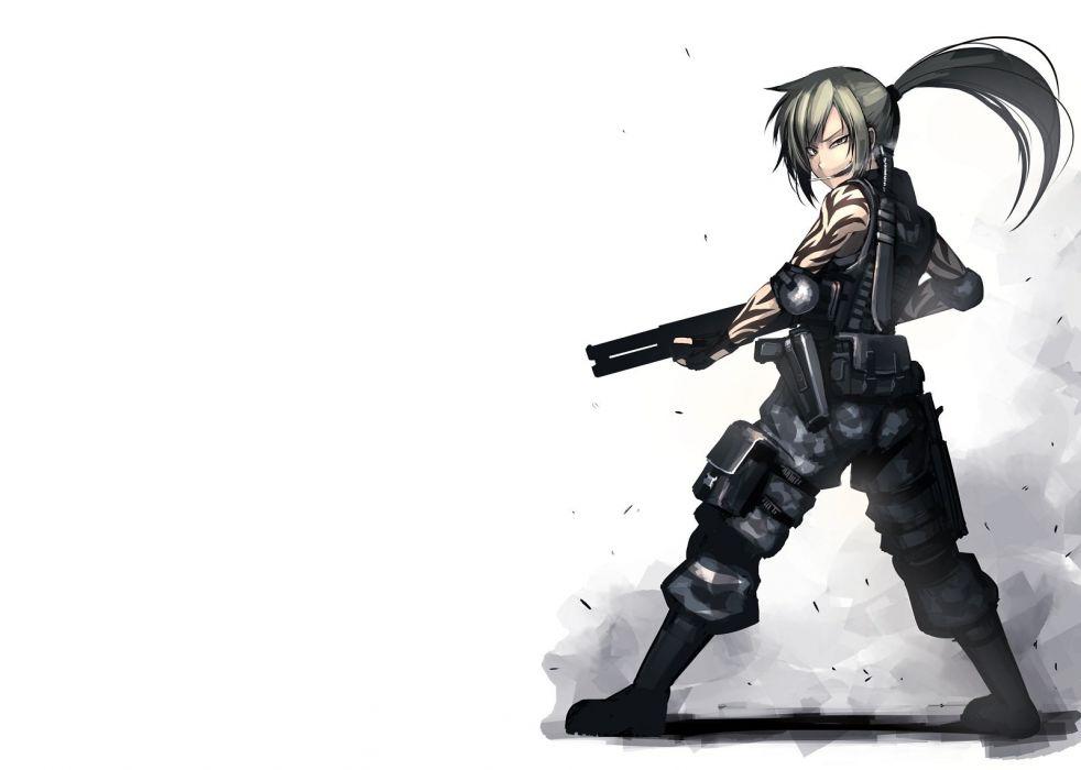 armor blonde hair boots cigarette gun hellshock knife long hair original ponytail smoking tattoo weapon wallpaper