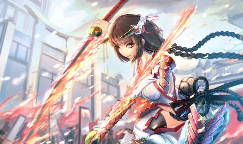 armor braids brown eyes fire headdress katana kikivi long hair pixiv fantasia red eyes sword weapon wallpaper