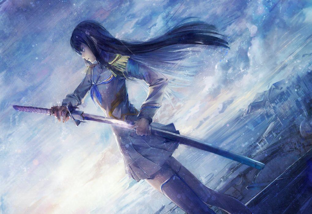 black hair city clouds katana kill la kill kiryuin satsuki kneehighs long hair shouin skirt sword weapon wallpaper