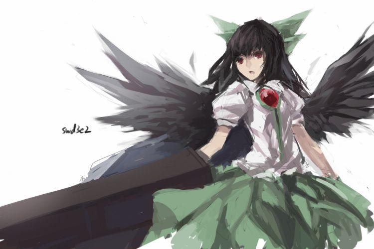 black hair long hair red eyes reiuji utsuho skirt swd3e2 touhou weapon wings wallpaper