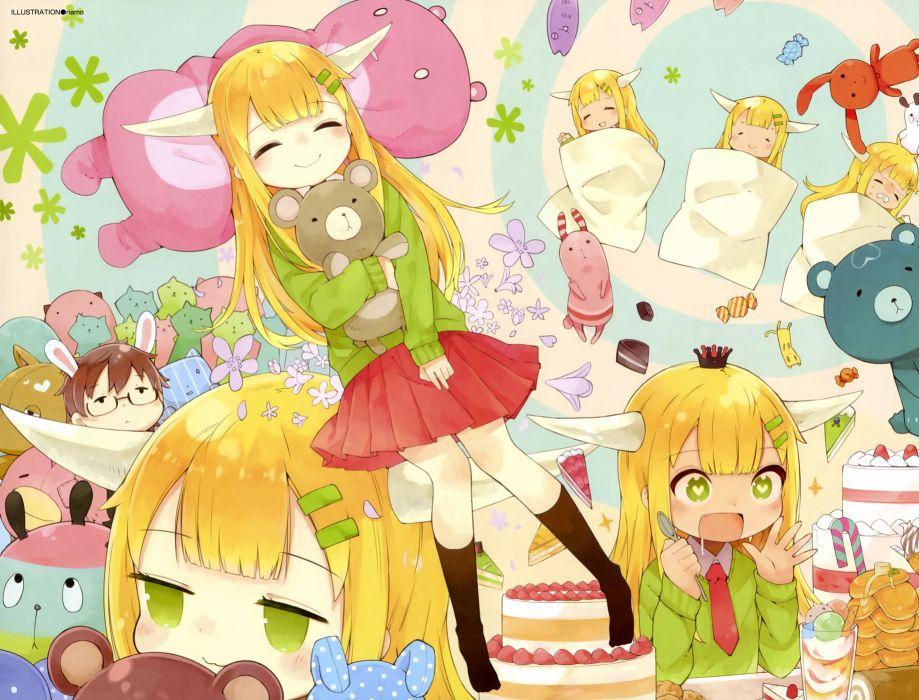 blonde hair chibi dengeki moeoh horns namo original scan wallpaper