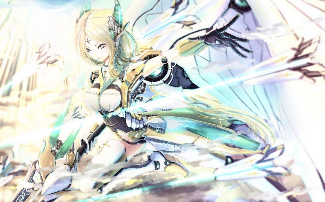 blonde hair green eyes kikivi mechagirl original sword thighhighs weapon wings wallpaper