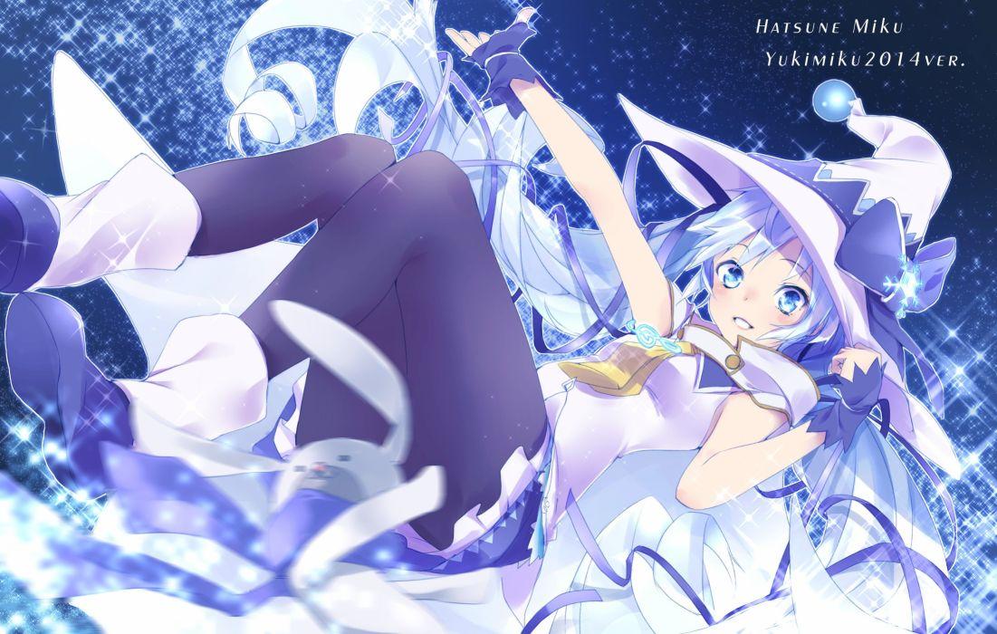 blue eyes blue hair boots hat hatsune miku long hair pantyhose takka twintails vocaloid witch hat yuki miku wallpaper