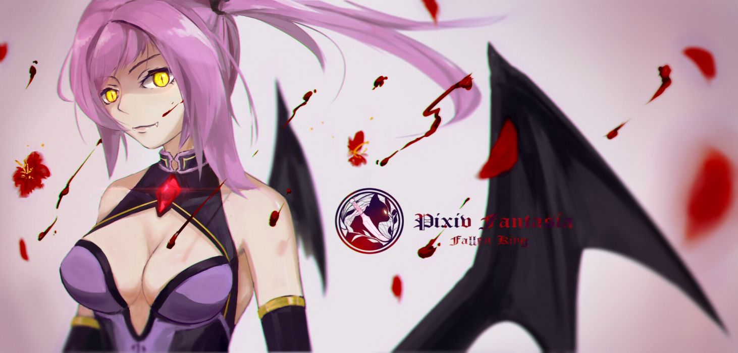blood breasts cleavage c_z_ fang petals pixiv fantasia wings yellow eyes wallpaper