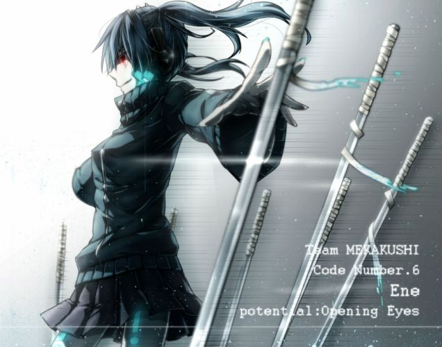 blue hair ene (kagerou project) headphones hukkyunzzz kagerou project red eyes skirt sword twintails weapon wallpaper
