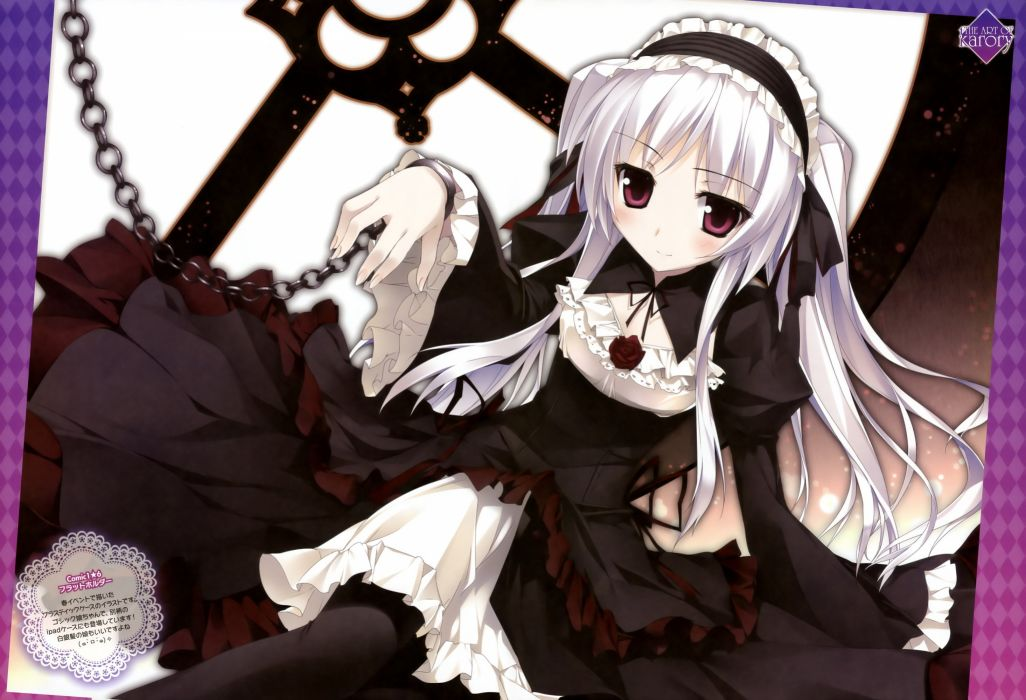 blush dengeki moeoh dress gothic gray hair karory long hair original scan wallpaper