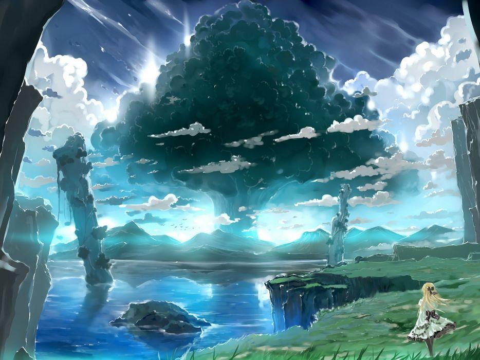 bob (biyonbiyon) clouds landscape original scenic sky tree water wallpaper